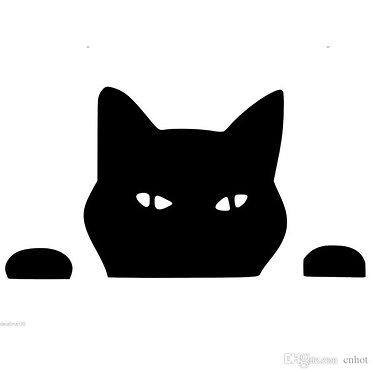 Peek Cat Cornhole Decal Sticker