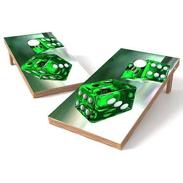 3D Green Dice Cornhole Wrap