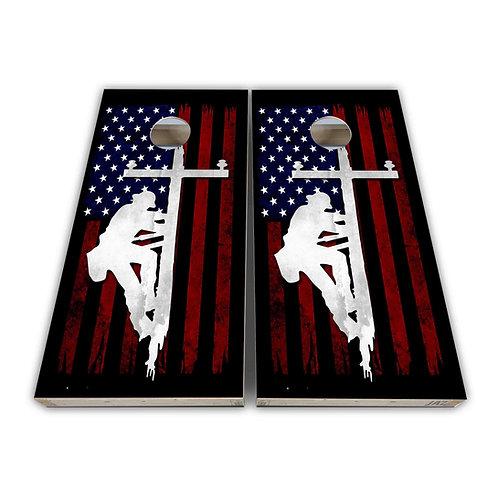 American Flag Lineman Cornhole Board Set Baggo Set