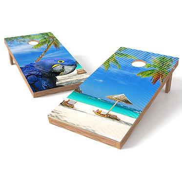 Tropical Beach Parrot Cornhole Board Wrap