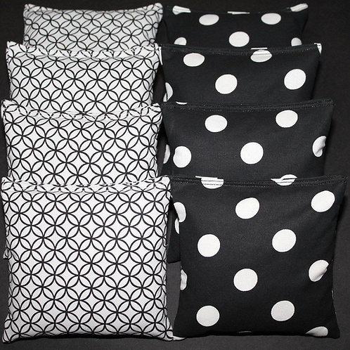 Black and white circles and polka dot wedding bag set of (8)