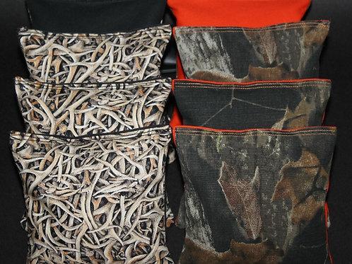 Orange Camo Deer Hunting Fishing Cornhole bags, set of (8)