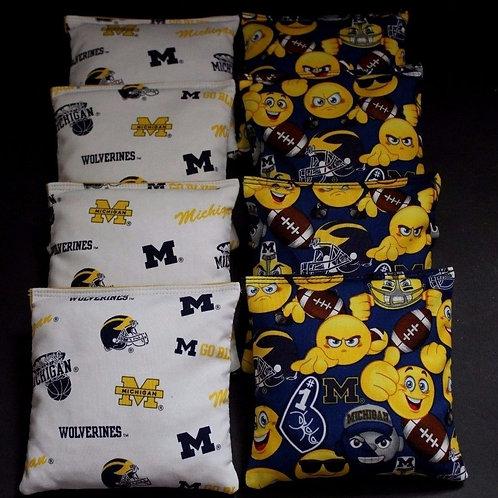 University of Michigan Emoji Go Blue Wolverines Cornhole bags, set of (8)