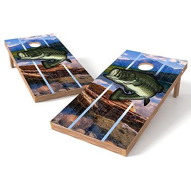 Bass Fishing Cornhole Board Wrap - Design1