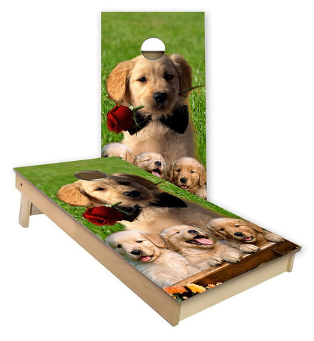 Golden Retriever Cornhole Board Wrap