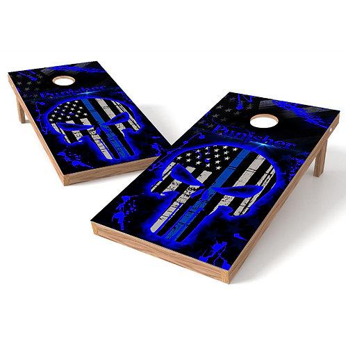Punisher Blue Skull Flag Direct to Wood Print Cornhole Board Set