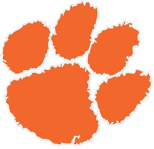Orange Tigers Paw Cornhole Board Decal Sticker