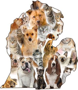 Michigan Pets Cornhole Decal Sticker