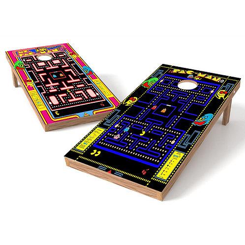 Pacman & Ms Pacman Cornhole Board Wrap v2