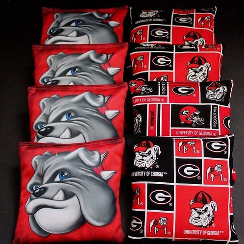 Georgia Bulldog head bags 3 Cornhole bags, set of (8)