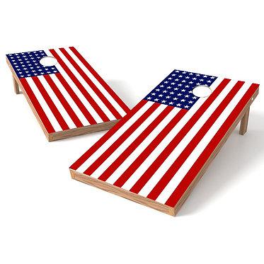 Flat American Flag Stars on Left Cornhole Wrap