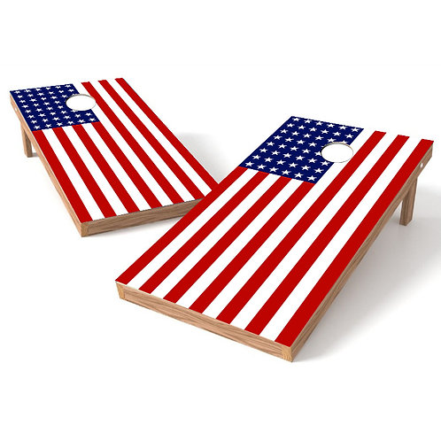 Flat American Flag Stars on Left Cornhole Wrap