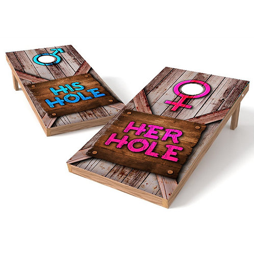 His and Her Hole Rustic Cornhole Board Wrap