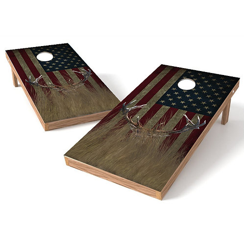 Whitetail Buck Hidden Worn Flag Corn Hole Wrap