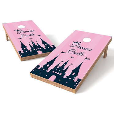 Princess Castle Pink Cornhole Board Wrap
