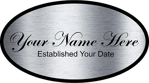 Chrome Name Sign & Est Date Cornhole Board Decal Sticker