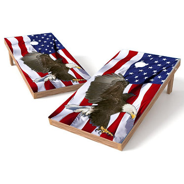 Bald Eagle American Flag Cornhole Wrap