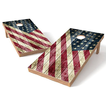 American Rustic Flag Cornhole Wrap Bags Decal
