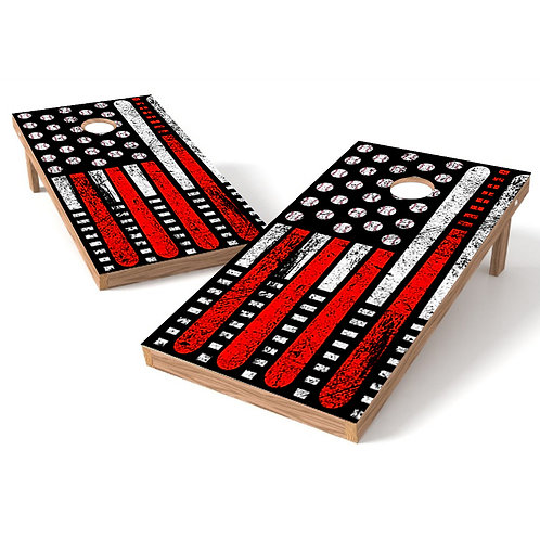 Baseball Flag Cornhole Board Wrap