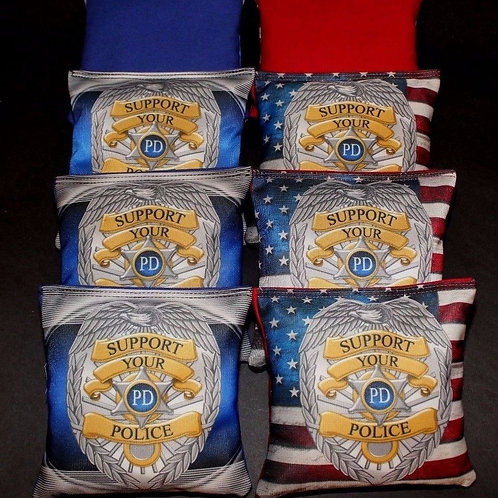 Support your Police badge and flag Cornhole bags, set of (8)