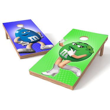 Green Blue M&M Candy Cornhole Board Wrap - Pick or Both