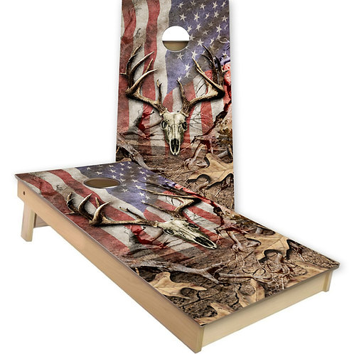 Rustic Camo Deer Flag Cornhole Board Set