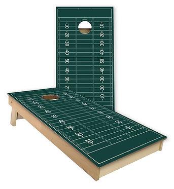 Green Field Football Cornhole Board Wrap - Add Logo