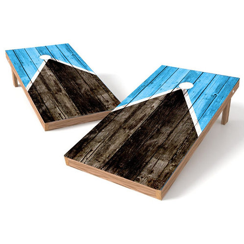 Half Triangle Worn Grunge Blue Wood Cornhole Board Wrap - Add Logo