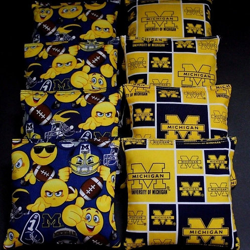 University of Michigan Emoji and Wolverine Cornhole bags, set of (8)