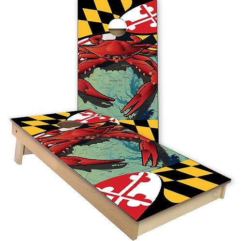 Maryland Crab Maryland Flag Maryland Cornhole Board Set
