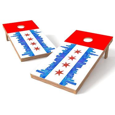 Chicago Flag Chicago Skyline Cornhole Board Wrap