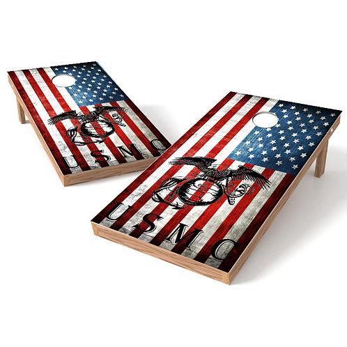 USMC Black Globe Flag Cornhole Wrap