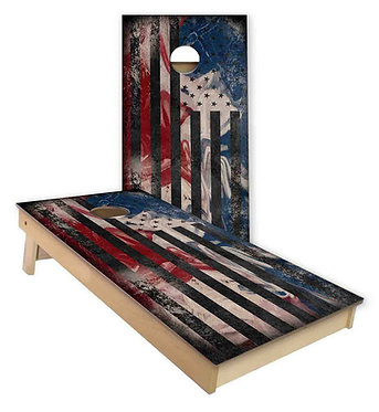 Abstract American Flag stain Cornhole Wrap