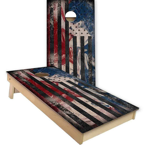 Stain Texture American Flag Cornhole Board Set