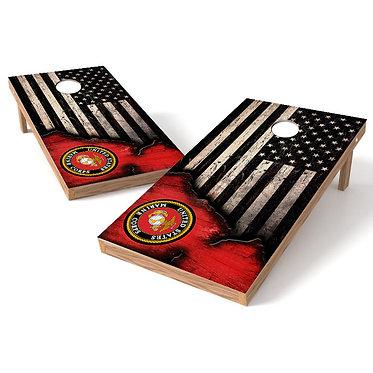 United States Marines Ripped Worn Flag Cornhole Wrap