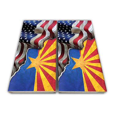Arizona Cornhole Arizona State Flag American Flag Cornhole Board Wrap Decal