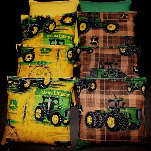 Green tractor Country with John deer Cornhole bags, set of (8)