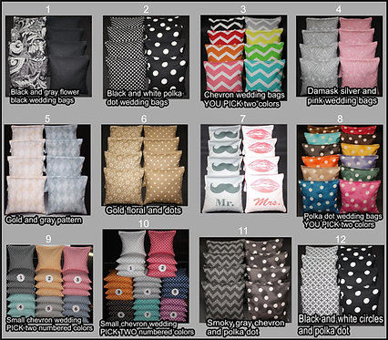 WEDDING Cornhole Bags - Regulation Corn or Resin - Variety Available