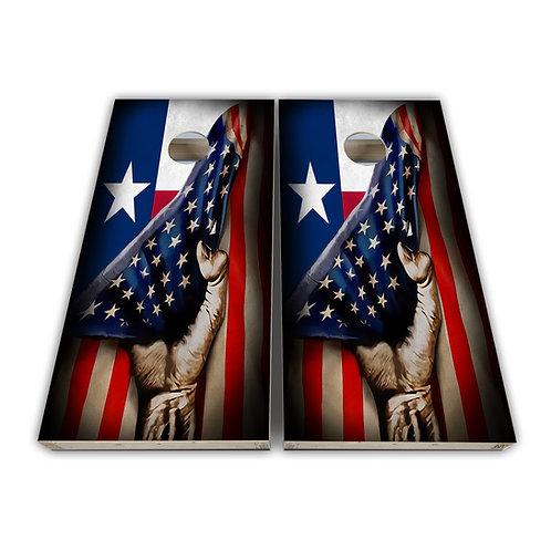 Texas American Hand Cornhole Board Game Set Bags Game Set