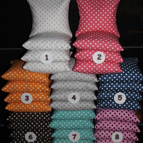 Small Polka Dots cornhole wedding bags, PICK two colors, set of (8)