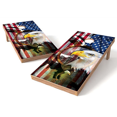American Eagle Reflection Flag Cornhole Wrap Bags Decal