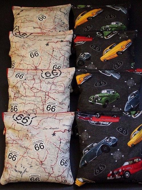 Route 66 Vintage Classic Cars Cornhole bags, set of (8)