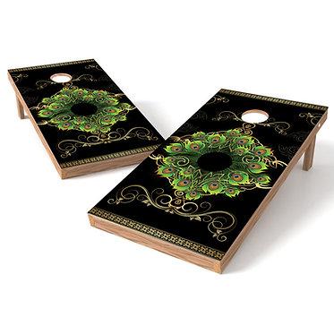 Green Black Floral Cornhole Board Wrap Baggo Bag Toss Corn Toss Wrap