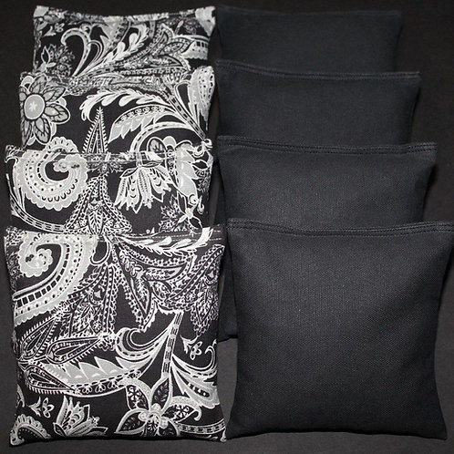 Black and gray flower and black wedding bag set of (8)