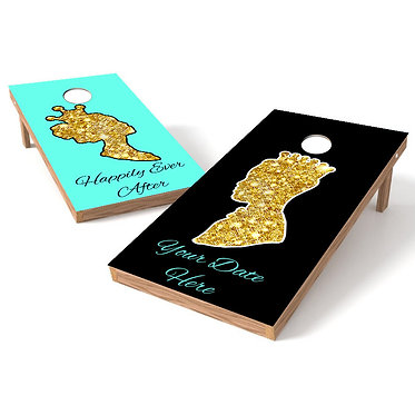 Happily Ever After Wedding Cornhole Board Wrap - Personalize