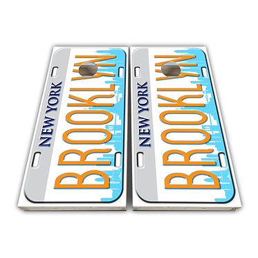 Brooklyn New York Cornhole Wrap Cornhole Decal - Custom License Plate