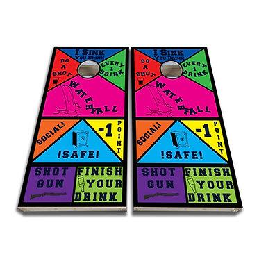 I Drink Game Laugh Throw Again Cornhole Board Wrap - Cornhole Board Skin