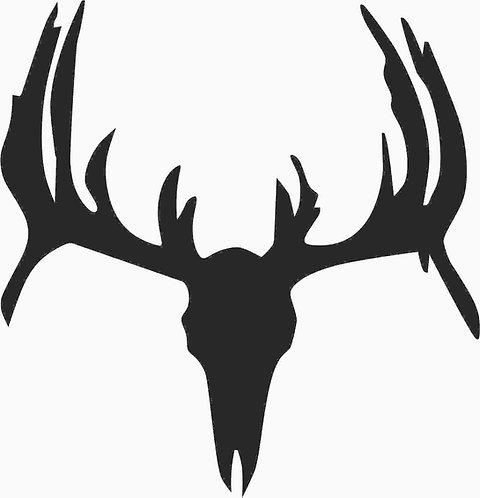 Buck Skull Silhouette Cornhole Board Decal Sticker