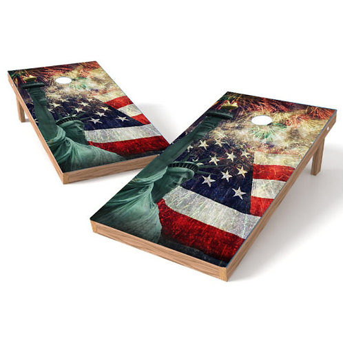 Statue of Liberty Fireworks Cornhole Board Wrap