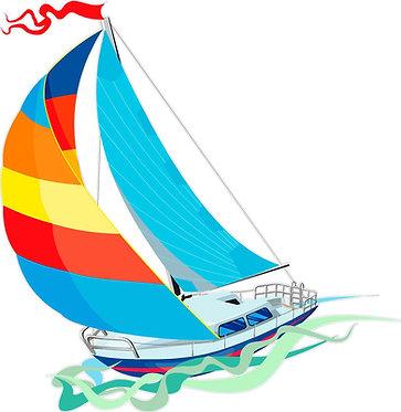 Sail Boat Cornhole Decal Sticker